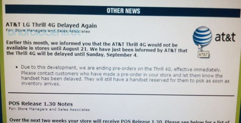 AT&T postponing the LG Thrill 4G to September 4?