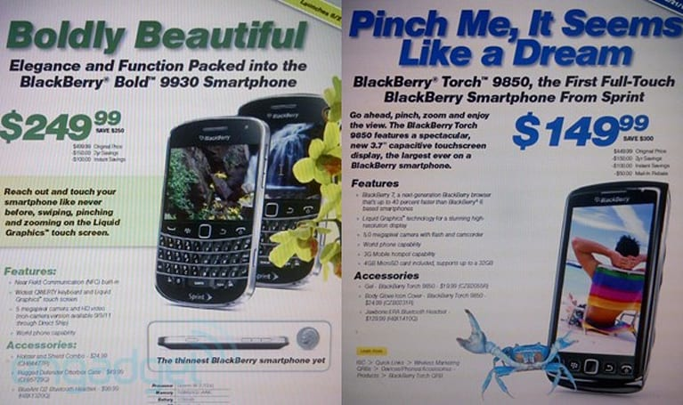 Sprint welcomes BlackBerry Bold 9930 and Torch 9850 on 8/21, Bell now flaunts its 9900 and 9810