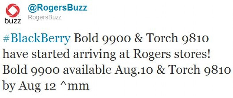 BlackBerry Bold 9900 available on Rogers today, Torch 9810 comes August 12th