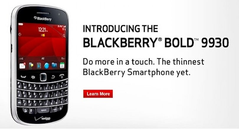 BlackBerry Bold 9930 now available from Verizon for $250, on contract