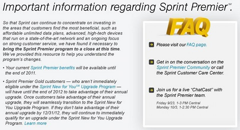 Sprint axes Premier program, no more annual upgrades for Gold customers