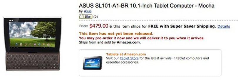 Asus Eee Pad Slider up for pre-order at Amazon, starting at $480