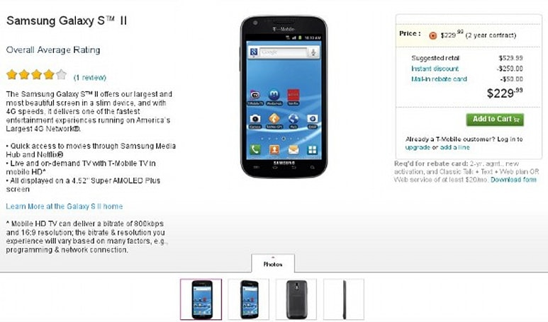 T-Mobile Galaxy S II pre-orders begin today, should land in stores October 12th