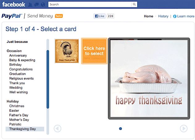 PayPal Facebook app lets you send money and greetings to friends, only takes 2.9-percent cut of your 'free' e-card