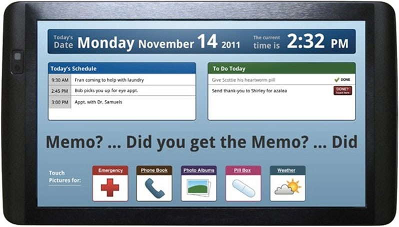 Introducing Memo Touch, a tablet designed for elders with short-term memory loss