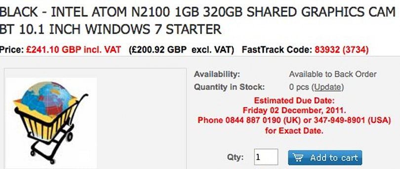 Samsung N102S netbook listed on UK sites for £240, possibly with Cedar Trail
