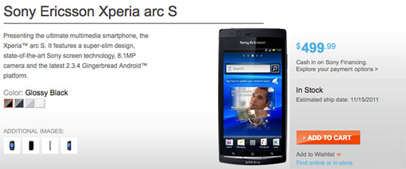 Xperia arc S up for order on Sony's site, could ship this week