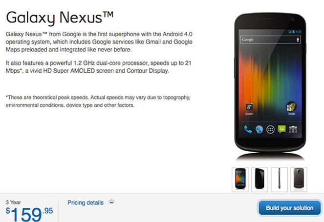 Galaxy Nexus available now on Bell and Virgin Mobile Canada for $160 on contract