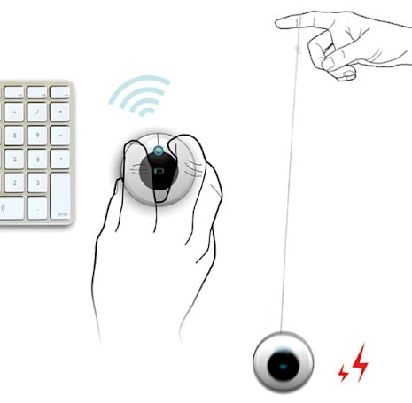 Yo-Yo wireless mouse concept charges with the flick of a wrist, saves your back