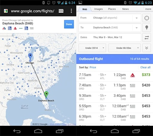 Google updates Flight Search for Android, iOS
