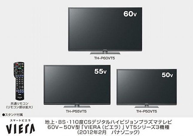 Panasonic prices, dates some of its 2012 HDTVs (VT, GT, ET) and accessories in Japan