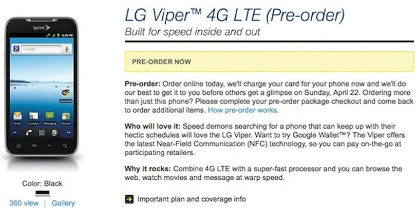 Sprint LG Viper 4G up for pre-order now, coming on April 22nd