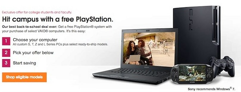 Sony kicks off back to school promotion with a free PS3 or Vita for VAIO PC buyers