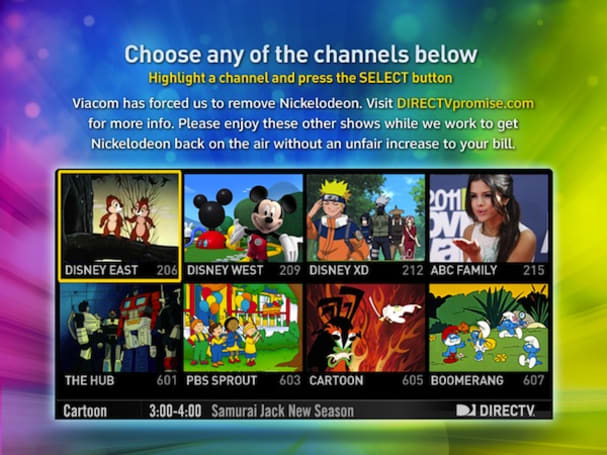Viacom channels disappear from DirecTV after the two companies can't reach a deal