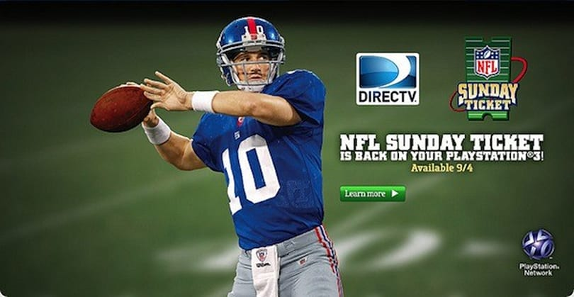 DirecTV's NFL Sunday Ticket returns to PS3 in time for the upcoming football season