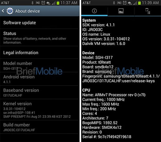 Leaked screenshots show Galaxy Note 2 on AT&T and Verizon