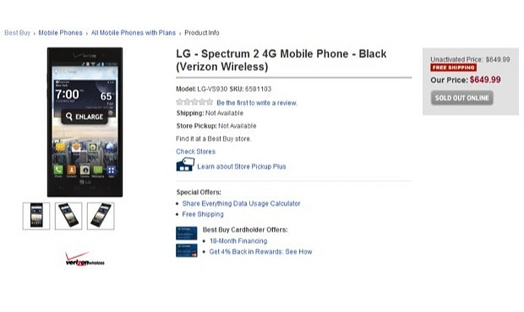 Best Buy listing reminds us that the LG Spectrum 2 is still on its way to Verizon