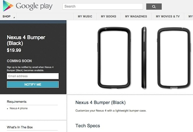 Nexus 4 and 10 hit Australian Google Play store first, $20 Nexus 4 bumpers appear (update: Europe too)