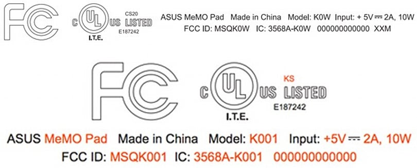 ASUS sends two MeMo Pad tablets with WiFi through the FCC