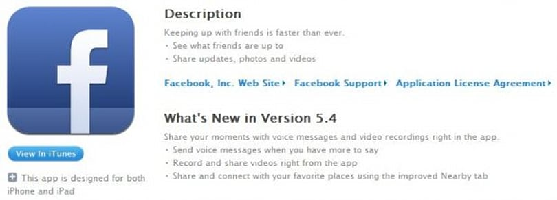Facebook Updates Ios App With Voice Messages Video Recordings
