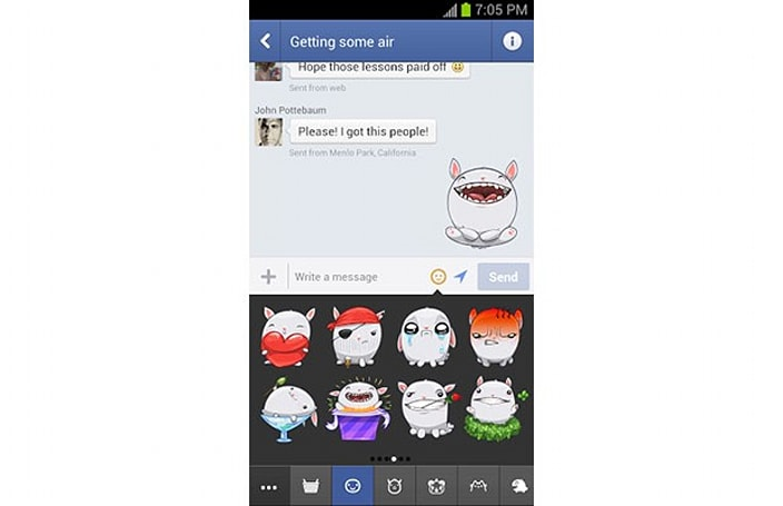 Facebook Messenger for Android: now with free stickers