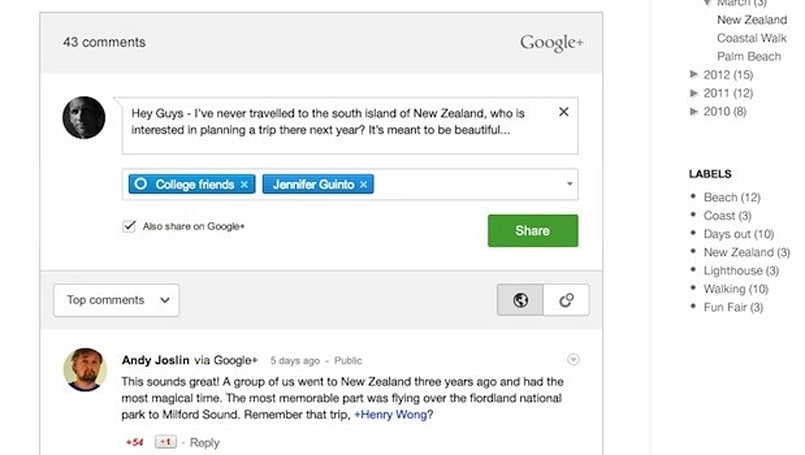 Google+ extends its reach into Blogger comments