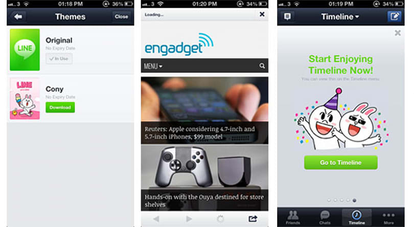 Line for iOS gains browser, themes and three more languages