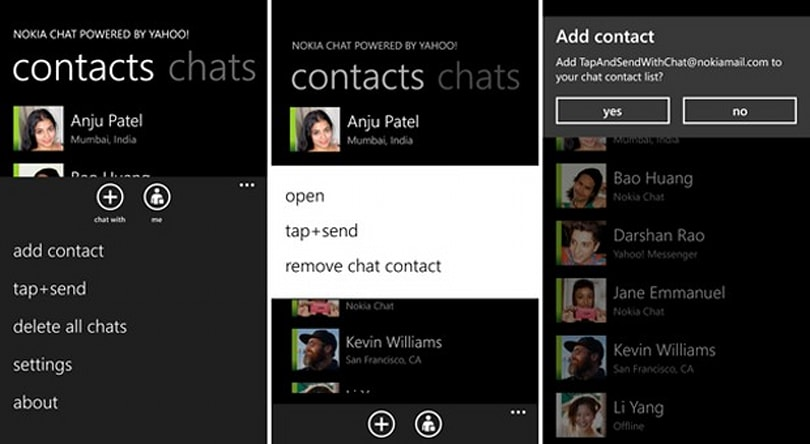 Nokia Chat 1.1 beta sends contacts to other Lumias through NFC