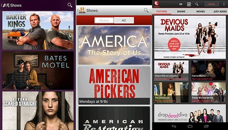 A&E, Lifetime and History Channel streaming apps land on Google Play