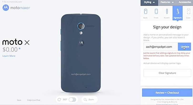 Moto Maker 'signature' engraving to arrive after Moto X launch