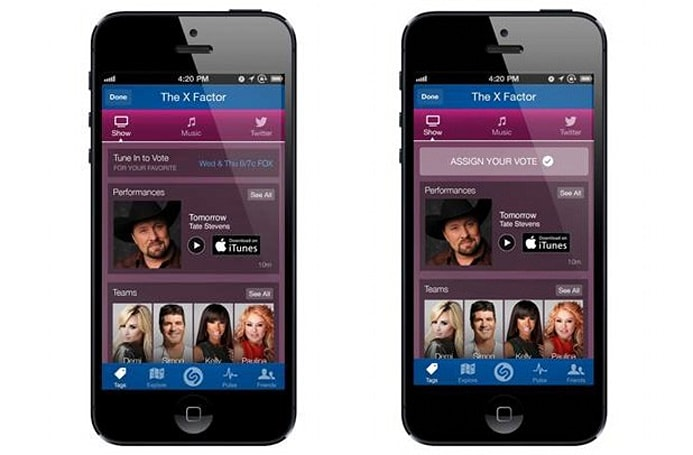 Shazam app users can vote for X Factor acts starting November 6th