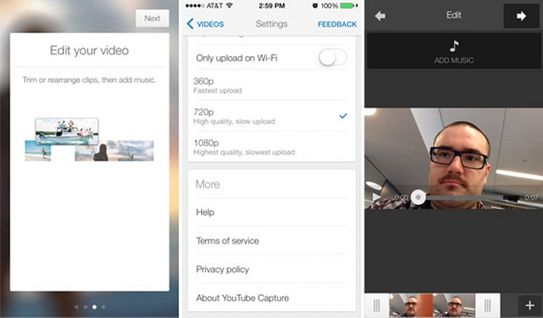 YouTube Capture for iOS update adds clip splicing and iTunes soundtracking