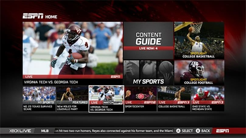 ESPN on Xbox Live updated with all live ESPN content