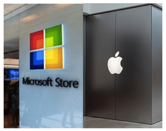 Apple Stores and Microsoft Stores by the numbers