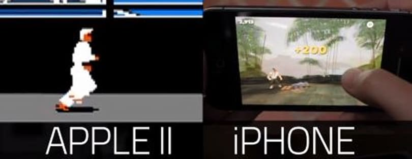 Karateka compared on the Apple II and the iPhone