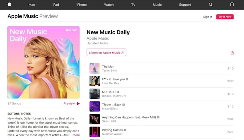 Apple Music's latest playlist suggests new tracks every day