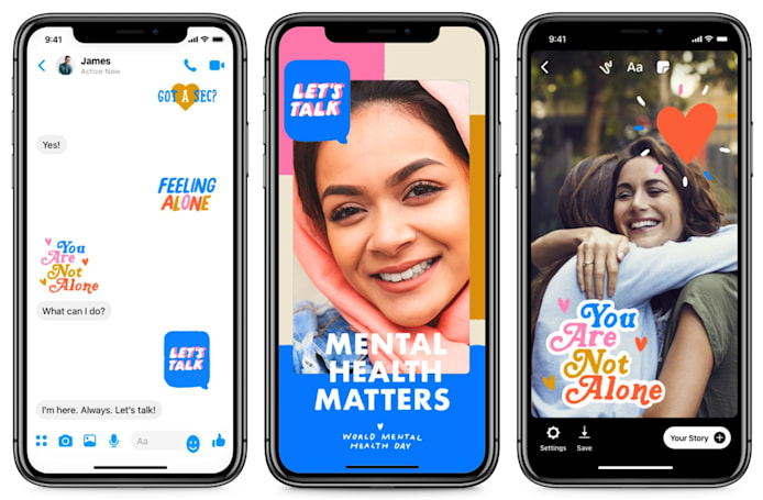Facebook and Messenger's new camera filter, stickers focus on mental health