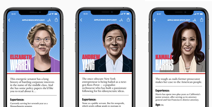 Apple News debuts a guide to the 2020 Democrat hopefuls