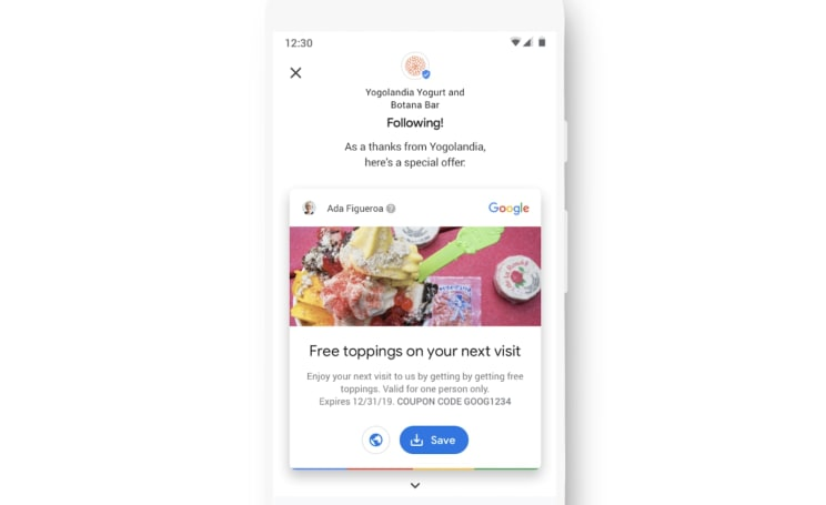 Google adds 'Welcome Offers'  to its store and restaurant listings