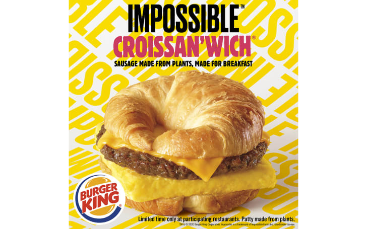 Impossible Sausage will be in Burger King's breakfast croissants