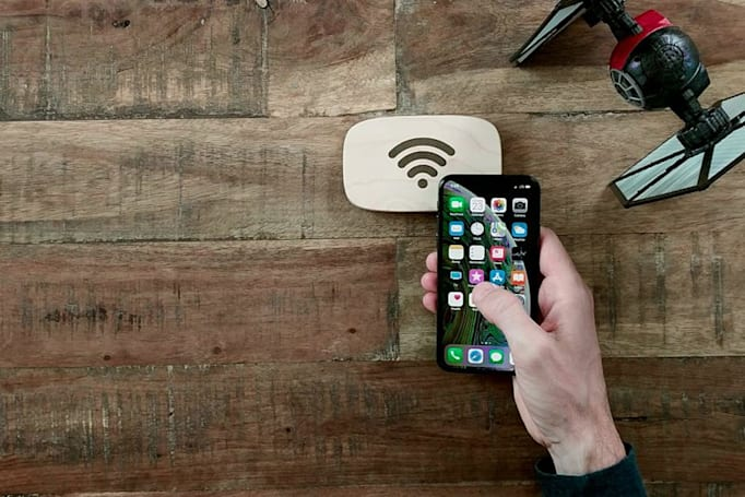 Wood block connects you to coffee shop WiFi with a tap