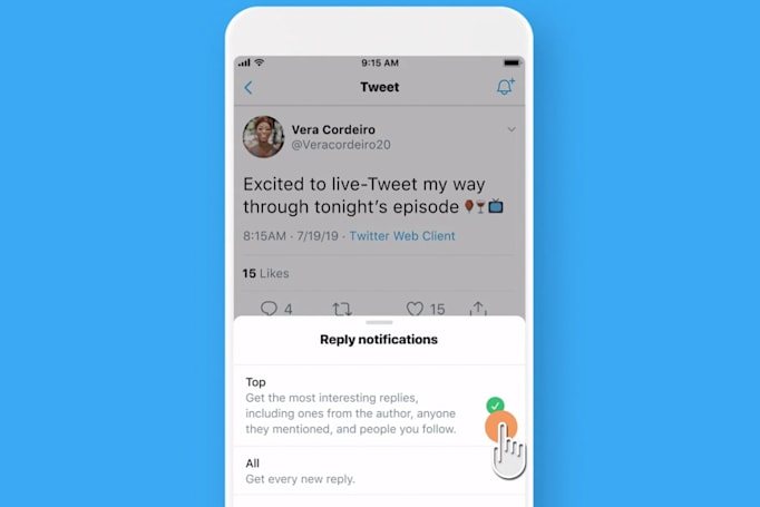 Twitter test notifies you of replies to interesting conversations