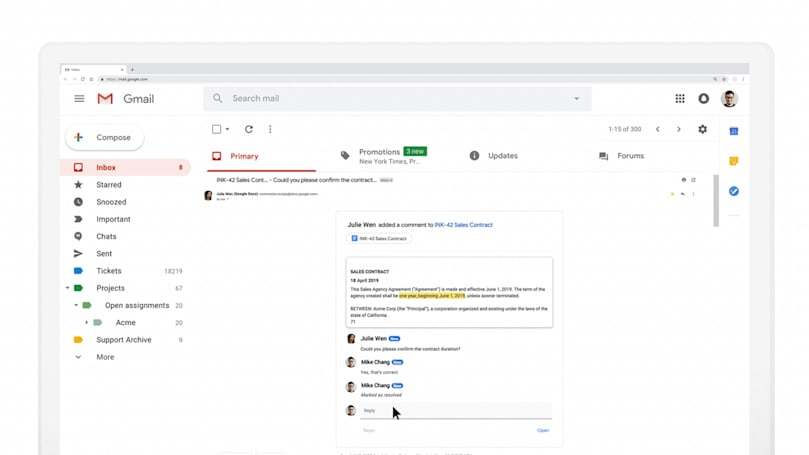 Google's AMP tech makes Gmail more interactive