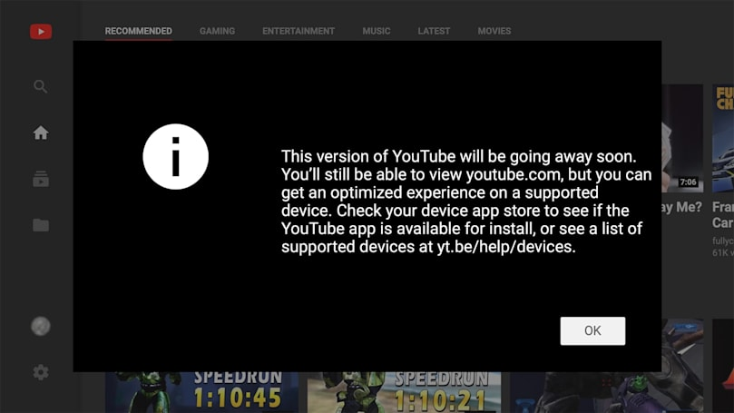 YouTube is shutting down its TV-friendly web interface (updated)