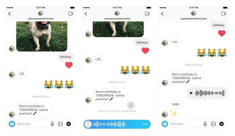 Instagram adds walkie-talkie voice messages