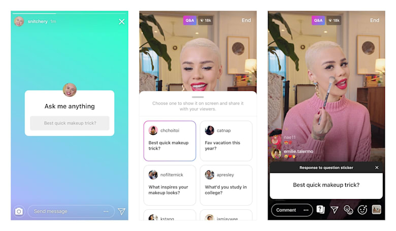 Instagram can turn question stickers into live Q&As