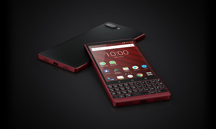 BlackBerry's marginally upgraded, red-accented KEY2 is out today