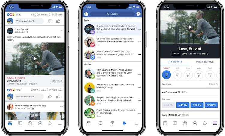 Facebook movie ads now offer premiere reminders and showtimes