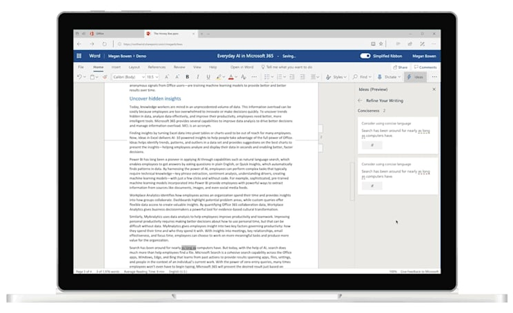 Microsoft Word uses AI to improve your writing