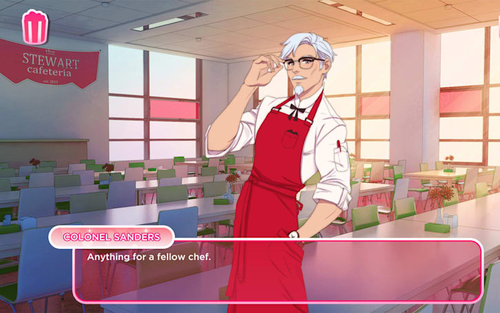 Try to court Colonel Sanders in KFC's dating sim
